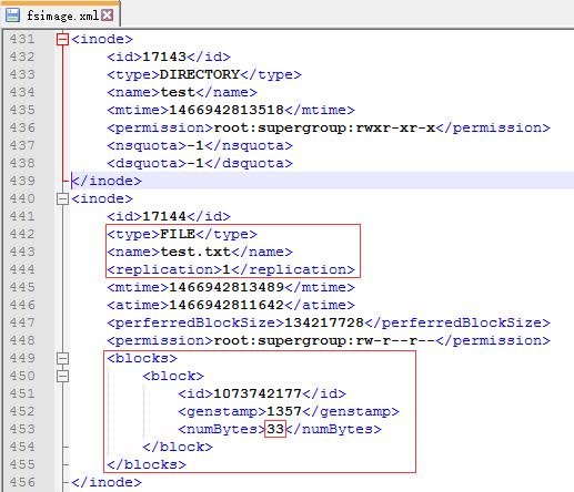 在fsimage文件中查看test文件信息