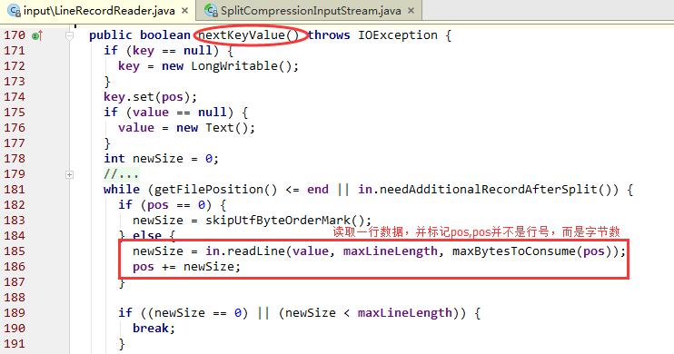 LineRecordReader的nextKeyValue具体的实现