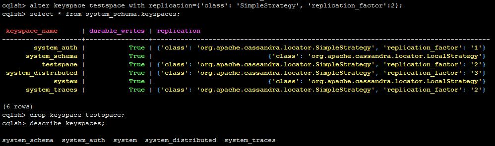 修改删除keyspace