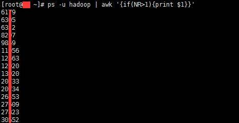 ps -u hadoop | awk '{if(NR>1){print $1}}'